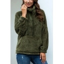 Trendy Solid Color Half-Zip Stand Collar Drawstring Kangaroo Pocket Long Sleeve Relaxed Fit Plush Pullover Sweatshirt