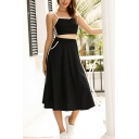 Leisure Womens Contrast Piped Spaghetti Straps Tape Panel Slim Fit Crop Cami Top & Mid A-line Skirt Set in Black