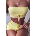 Sexy Ladies Solid Color Strapless Drawstring Cropped Tube & Slim Fit Shorts Set