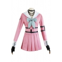 Pretty Girls Leather Straps Long Sleeve Contrasted Bow Sailor Collar Fit Top & Mini Pleated Skirt Co-ords in Pink