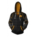 Mens Popular Geometric Pattern Long Sleeve Zipper Front Drawstring Relaxed Fit Hoodie in Black