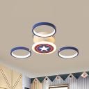 Star and Round Semi Flush Light Cartoon Acrylic 3/6 Heads Blue Ceiling Mounted Fixture