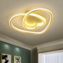 Heart Acrylic LED Ceiling Lighting Modernist Pink/Gold Flush Mount Light Fixture for Bedroom