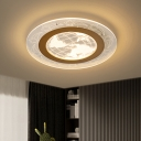 Round Parlor Flush Mount Lamp Clear Acrylic LED Simple Ceiling Lamp with Globe Pattern in Brown, Warm/White Light