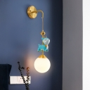 Resin Sika Deer Wall Mounted Lamp Modern 1-Light Wall Lighting Fixture with Global White Glass Shade in Blue