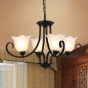 Metallic Scalloped Hanging Fixture Traditional 4/6/8 Lights Dining Room Ceiling Pendant in Black