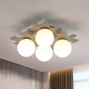 4 Heads Grey/Green Global Semi Flush Simple Opal Glass Ceiling Fixture with Metal Puzzle Design