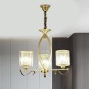 3/6 Lights Ceiling Pendant Post-Modern Cylinder Prismatic Crystal Hanging Chandelier in Gold