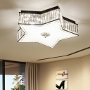 LED Ceiling Flush Light Fixture Simple Living Room Flushmount with Star Clear Crystal Shade, 16