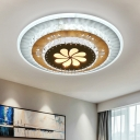 Tiered Round Crystal Ceiling Lighting Modern Style Bedroom LED Flush Mount Fixture in White