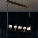 5-Bulb Island Light Fixture Postmodern Cubic Crystal Prism Hanging Pendant in Gold