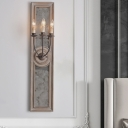 3 Heads Wall Light Fixture Rural Candle Style Wood Sconce Lighting with Rectangle Mirror in Brown