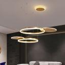 Circular Dining Room Cluster Pendant Metallic LED Modernism Pendulum Light in Gold/Coffee, White/Warm Light