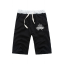Leisure Boys Letter Plus Ultra Print Contrasted Drawstring Waist Straight Shorts