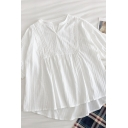 Elegant Girls Solid Color Pleated Lace Patched Notched Neck Short Puff Sleeve Loose Fit High Low Tee Top in White