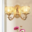 2 Bulbs Wall Sconce with Lotus Shade Ribbed Glass Traditional Bedroom Wall Light Fixture in Gold