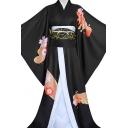 Anime Cosplay Custome Batwing Sleeve Tied Waist Long Kimono & Shirt Co-ords in Black