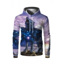 Mens Unique 3D Hooded Sweatshirt Galaxy Animal Wolf Pattern Drawstring Fitted Long-sleeved Hoodie with Pocket