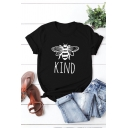 Summer Girls Letter Kind Bee Graphic Short Sleeve Crew Neck Slim Fitted T Shirt