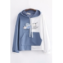 Lovely Letter Yummy Cat Graphic Colorblock Long Sleeve Drawstring Pouch Pocket Loose Hoodie