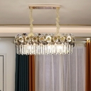 Clear Crystal Prism Oblong Hanging Lamp Modernism 11 Lights Dining Room Island Lighting Fixture