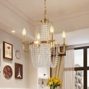 4-Head Candlestick Chandelier Traditional Gold Metal Hanging Pendant Light with Crystal Drapes