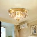 Ribbed Crystal Gold Ceiling Lighting Cap-Shaped 2 Heads Postmodern Flush Mount Light Fixture