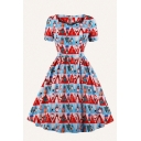 Fashion Girls Allover Christmas Element Print Short Sleeve Sweetheart Print Mid Pleated Flared Dress in Red