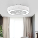 White Round Ceiling Fan Light Nordic Metallic Living Room LED Semi Flush Mount Light, 21.5