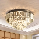 Tiered Flush Mount Light Contemporary Rectangle-Cut Crystals 2/5 Bulbs 12.5