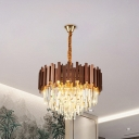 4-Light Cone Chandelier Pendant Modern Clear 3-Sided Crystal Rods Suspended Lighting Fixture