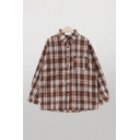 Vintage Womens Checker Plaid Button Up Pocket Pleated Long Sleeve Collared Loose Fit Shirt in Coffee