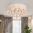 Modern Hollowed Out Flush Ceiling Light Crystal LED Flush Mounted Lamp in White Light/Remote Control Stepless Dimming