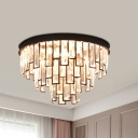 Crystal-Rectangles Black/Gold Flush Light 3-Layer Tapered 4 Bulbs Postmodern Close to Ceiling Lighting
