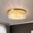 4/5-Head Clear Crystal Rod Ceiling Lamp Postmodern Brass Drum Bedroom Flush Mount Recessed Lighting, 16