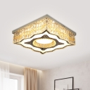 Contemporary Square LED Ceiling Lamp Beveled Crystal Flush Light Fixture with Wavy Edge in Stainless Steel