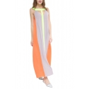 Unique Color Block Round Neck Hollow Cutout Front Maxi Swing Beach Dress