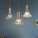 Single-Bulb Bell Drop Pendant Post-Modern Clear/Cognac/Smoke Grey Crystal Hanging Ceiling Light over Dining Table