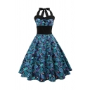 Gorgeous Ladies Leaf Printed Patchwork Contrast Stitching Button Pleated Halter Sleeveless Waist Midi Swing Dress in Blue