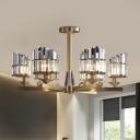 Hand-Cut Crystal Slant-Shape Ceiling Fixture Contemporary 6-Light Semi Flush Mount in Gold