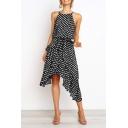 Trendy Summer Ladies Polka Dots Printing Stringy Selvedge Tie Waisted Sleeveless Straps Halter Midi Asymmetric A-Line Dress