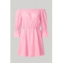 Pretty Womens Solid Color Bell Sleeve Off the Shoulder Short Pleated A-line Dress