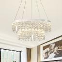 White LED Chandelier Lamp Modernist Clear Crystal Fringe 1/2-Tier Ceiling Pendant Light in White/Warm Light