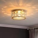 Crystal Rectangle Drum Flush Light Modern Style 2 Heads Ceiling Flush Mount in Brass for Hallway