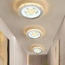 Sprout/Sun/Rings/Star Ceiling Fixture Contemporary Faceted Crystal LED Flush Mount Lamp in Stainless-Steel for Corridor