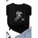 Fashionable Womens Letter I Love Space Astronaut Graphic Short Sleeve Crew-neck Regular Fit T Shirt