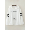 Cute Letter Meow Cat Graphic Long Sleeve Drawstring Loose Fit Hoodie