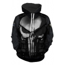 Cool 3D Skull Pattern Long Sleeve Sport Loose Black Hoodie