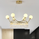 6/8-Bulb Chandelier Light Fixture Postmodern Crown Shaped Crystal Hanging Pendant in Gold