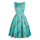 Vintage Womens Floral Crane Printed Patchwork Bow Backless Zip Sleeveless Crew Neck Short Swing Dress